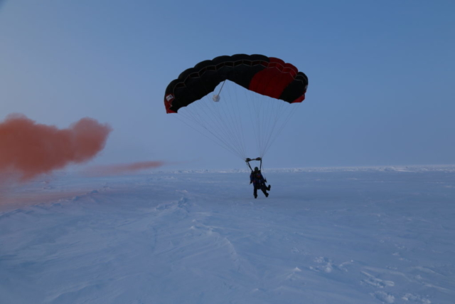 Skydiving onto the North Pole