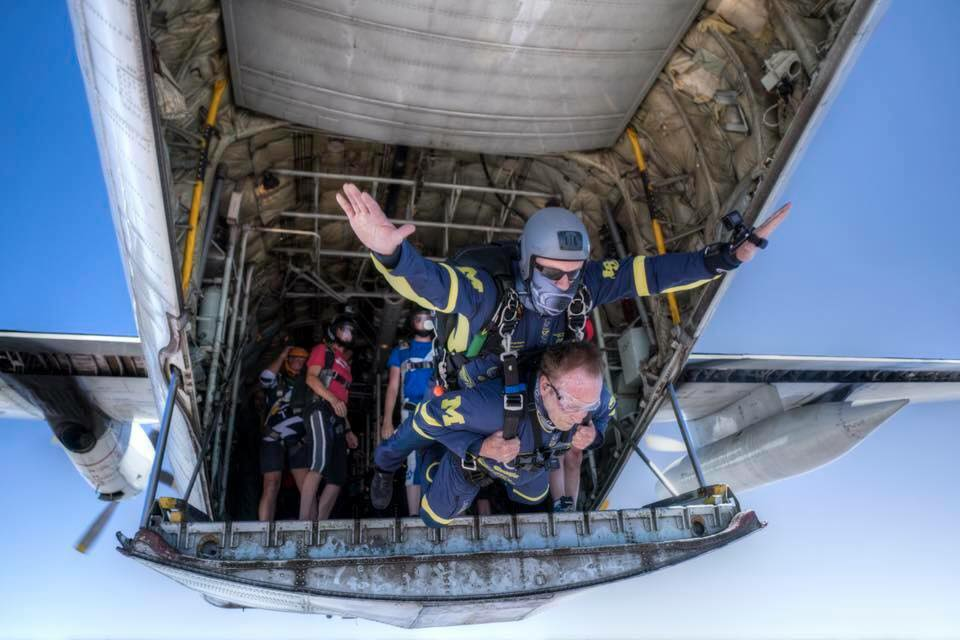 Tandem Skydivers Exiting the Plane