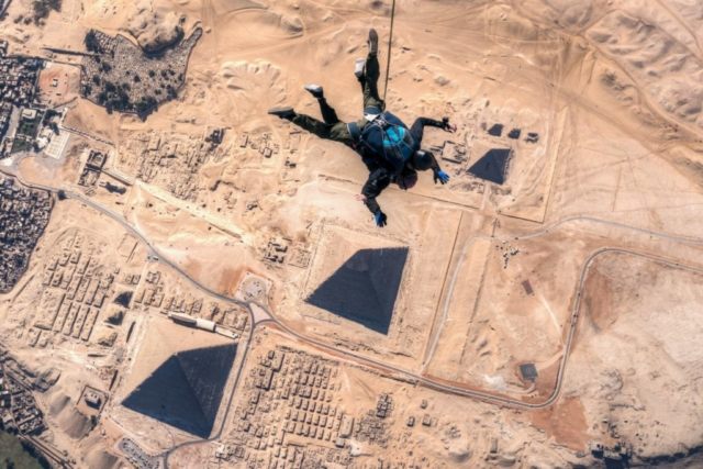 Skydive over the pyramids in Egypt