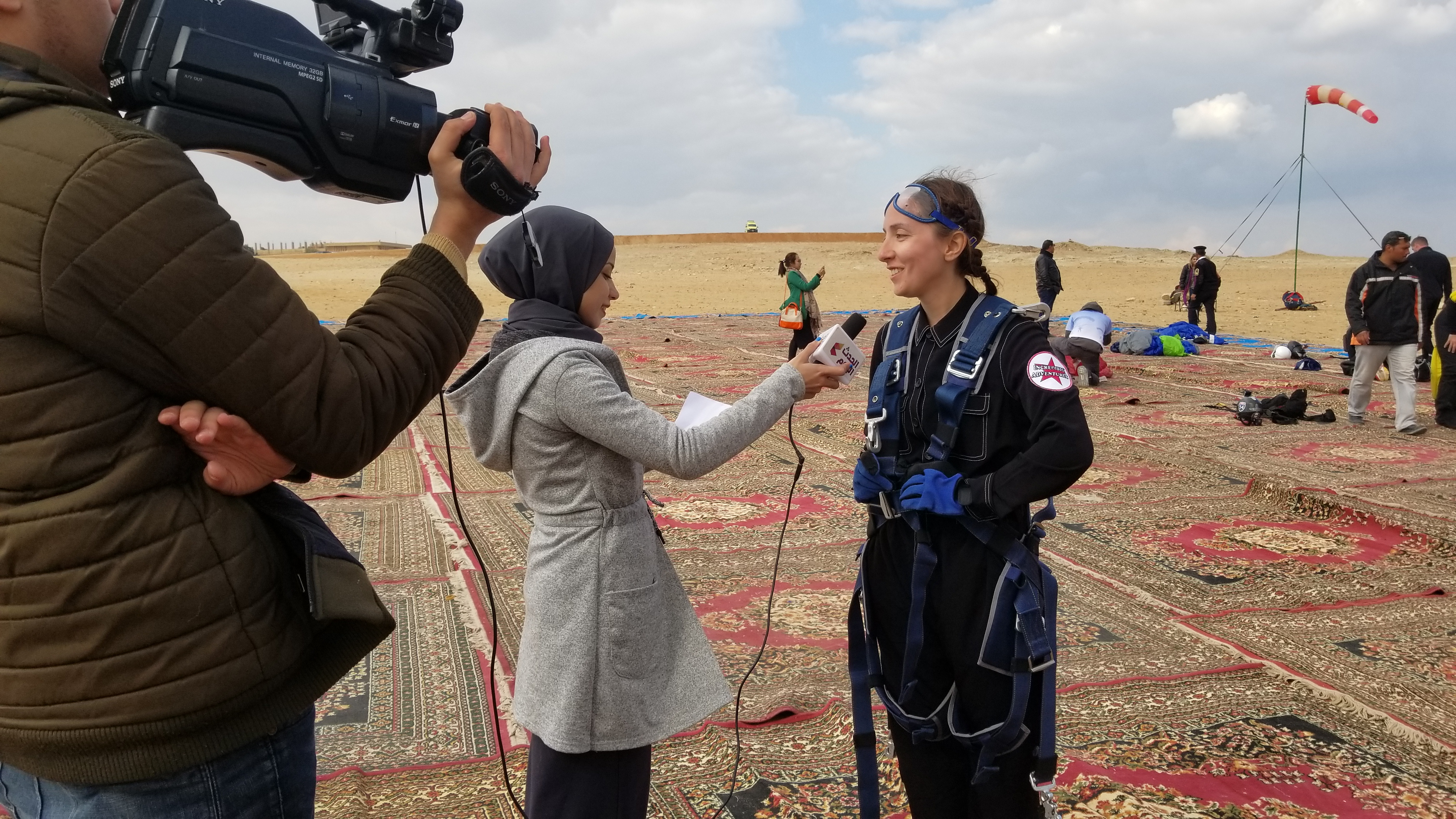 Rebecca Claxton, first America woman to skydive over the pyramids in Egypt