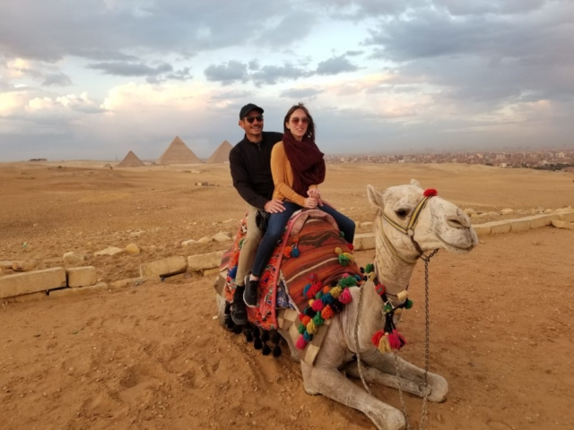 Greg and Rebecca at the Great Pyramids at Gize in Egypt: Camel Ride