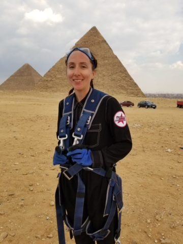 Rebecca Claxton at the Great Pyramids in Egypt