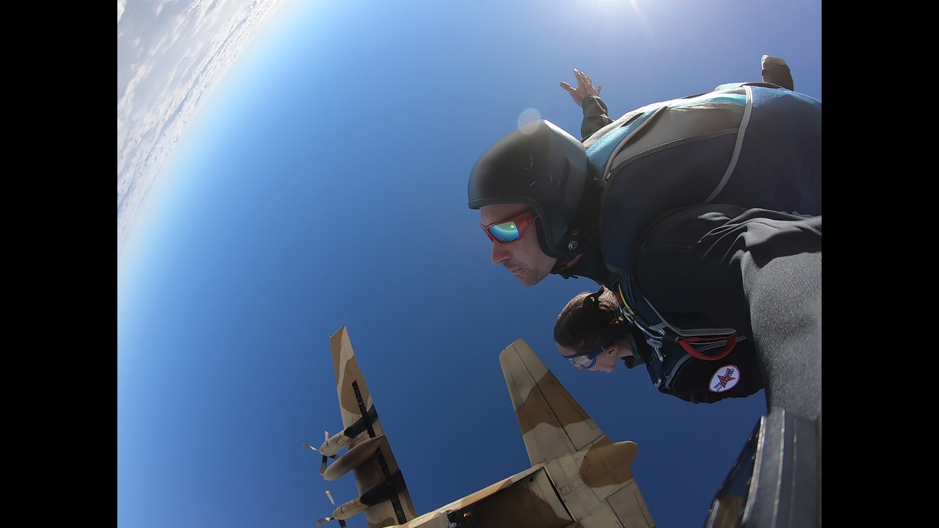 Rebecca Claxton tandem skydiving in Egypt with Ryan Jackson