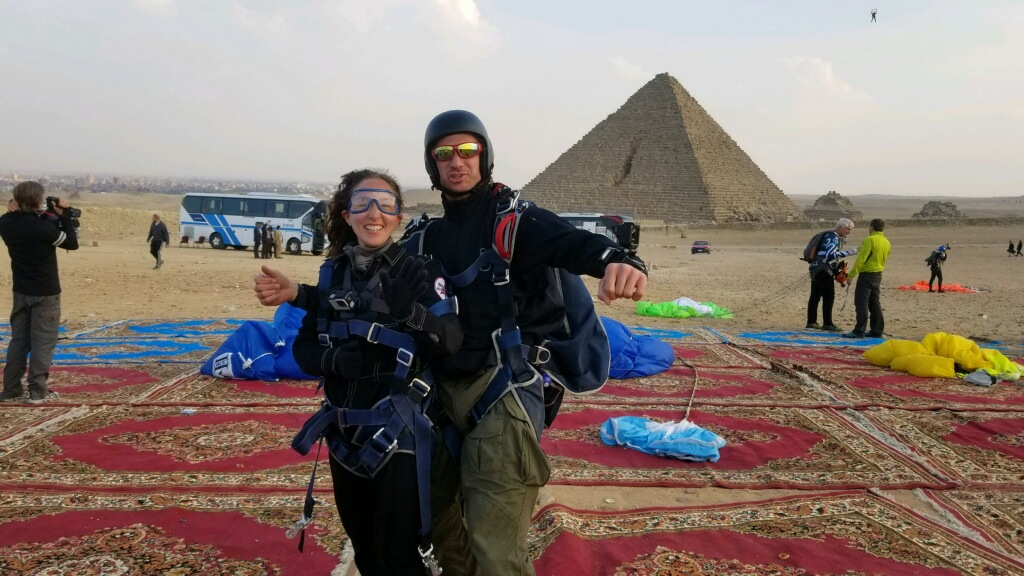 Rebecca Claxton and Ryan Jackson skydive over the Great Pyramids at Giza in Egypt